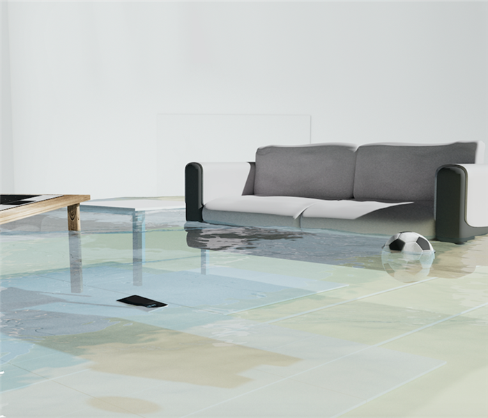 Flooded living room with floating couch